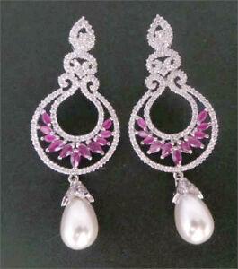 Exclusive Women's Party Designer Ruby CZ Pearl Earrings 24 RE 50