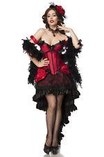 Burlesque Saloon Girl Moulin Rouge Girl Kostüm Set Burlesquekostüm rot / schwarz
