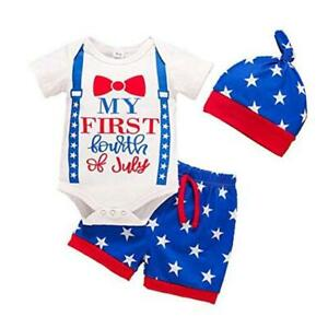 4th of July Baby Boy Clothes My First 4th of July 3-6 Months White+blue