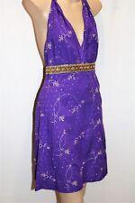 PURE HYPE Brand Purple Cotton Embroidered Halter Dress Size S BNWT #TT40