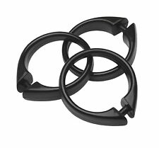 Plastic Shower Curtain Rings/Hooks: 12 Piece Set, Snap Closure, Black