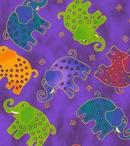 1/2 Yard Laurel Burch Mythical Jungle Elephant Toss Y2139-27M Purple w/Metallic