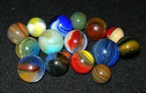 Vintage Master Marble Mixed Sunburst Marble Grouping (15)