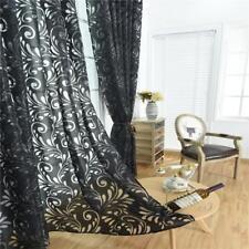 Rideau Voilage de Fenêtre Floral en Gaze Décoration Maison 100*200cm Noir