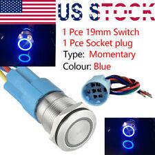 Blue LED 19mm Momentary Push Button Switch Wire Socket Plug Waterproof