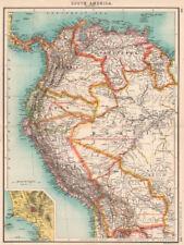 SOUTH AMERICA NW. Venezuela Colombia Ecuador Peru Bolivia. Inset Lima 1901 map