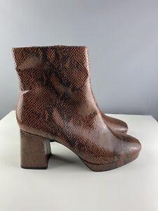 BNWT M&S Sz 8 Zipped Boots Brown Mock Croc Faux Snake Animal Print Block Heel