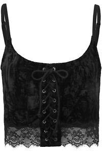 Killstar Women's Black Velvet Dahlia Vest Crop Top Size Medium