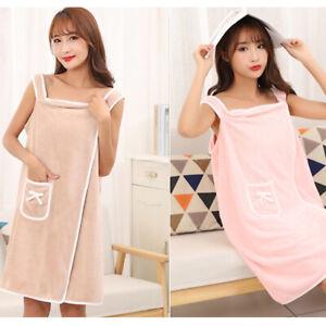 Women Bath Robe Velvet Towel Shower SPA Body Wrap Beaches Bath Dress Sleepwear