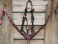 4PC Endurance Pink Camo Beta Biothane Tack Set Headstall Combo Breast Collar