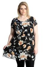 Neu Damen Übergröße Kleid Damen Chiffon Blumenmuster Tunika Elastische Nouvell