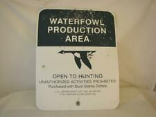FLYING GOOSE WATERFOWL PRODUCTION AREA SIGN US DEPT OF INTERIOR FISH & WILDLIFE