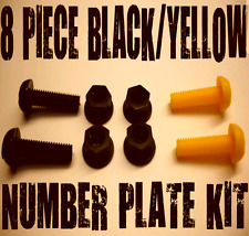 NUMBER PLATE BOLTS NUTS CAPS SCREWS MOTORCYCLE YELLOW BLACK