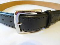 Cole Haan Mens Black Belt Size 42 Perforated Trim Dress New Man Made Material