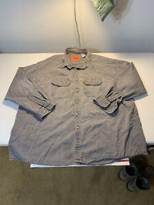 Men's Wrangler Riggs FR Flame Resistant Long Sleeve Shirt Size 3XLT Gray