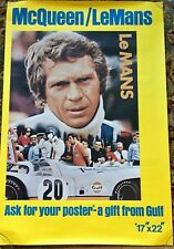 "Steve McQueen LeMans Gas Station Display Poster ""A Gift From Gulf"" 1971"