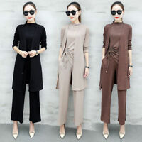 Womens Comfy Autumn Fashion Suit Casual Tops Cardigan Pants Three Pieces Set