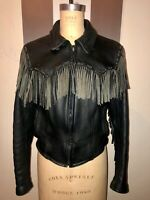 VTG 80'S EASYRIDERS BLACK LEATHER LONG FRINGE MOTORCYCLE JACKET COAT*W- 40 XS/S