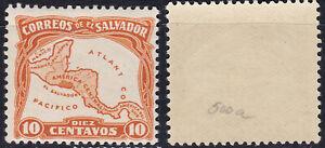 Salvador 1924 10c Sc-550a Map error ATLANT CO instead of ATLANTICO MLH