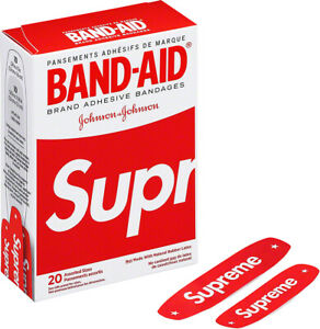 NEW SUPREME x BAND-AID Red Adhesive Bandages SS19 Assorted Sizes Box of 20