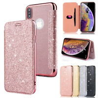 Bling Glitter PU Leather Soft TPU Flip Cover Case for iPhone XR XS Max 7 8 Plus