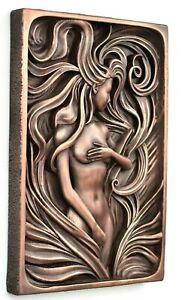 Sexy erotic bohemian female nude art, Erotic nudity boho copper wall decor gift