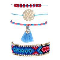 4Pcs/set Women Men Ethnic Boho Multilayer Beads Bracelet Bangle Rope Jewelry