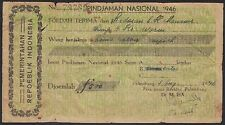 Indonesia 500 gulden receipt, early 1946, VG, extremely rare revolution issue