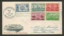 #790-794 1937 NAVY ISSUE FDC - IOOR BLACK CACHET - ALL 5 STAMPS ON COVER