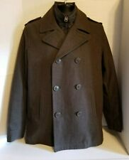 Levis Wool Double Breasted Jacket Army Green Mens Size Small Quilted Liner