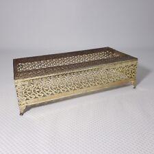 Vintage Gold Filigree Hollywood Regency Tissue Kleenex Box Holder