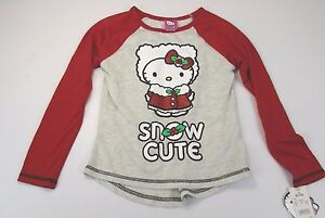 NWT *HELLO KITTY* M (7/8) GIRL'S RED AND GRAY TOP