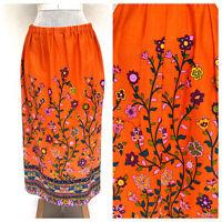 Vintage VTG 1970s 70s Alice Polynesian Orange Dayglow Floral Maxi Skirt