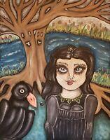 Crow Haunted Doll Trees River Art Print 13x19 Signed Artist KSams Gothic Raven