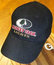 """MOSSY OAK """"LIGHTS"""" HAT BLACK, ADJUSTABLE, EMBROIDERED IN VERY GOOD COND  G"""