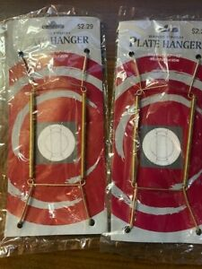 """4 Brass Finish Plate Hangers - fits10""""-12"""" plates - New with Hanger Clip"""