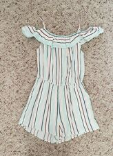 NWT H&M Girls Mint & Blue Striped Off Shoulder Rompers One-Piece Pockets Sz 9-10