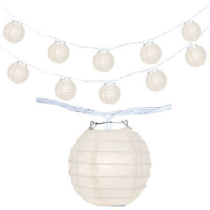 "Japanese Chinese 4"" Paper Lantern Party String Lights Plain White SET of 10"