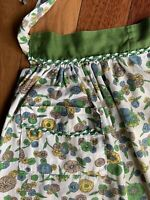 Vintage Floral Half Apron Mums Green Blue Yellow Handmade Pocket Ric Rac Trim