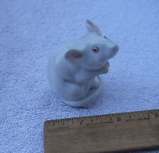 Nice HEREND Porcelain Small WHITE MOUSE FIGURINE-Natural- Pink Eyes-L91-NR