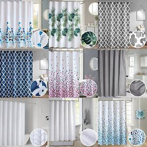 Waterproof Polyester Fabric Bathroom Printed Shower Curtain & Ring Hooks