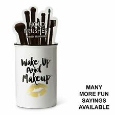 "Tri-Coastal Design Ceramic Makeup Brush Holder Storage""Wake Up And Makeup"" Cosme"
