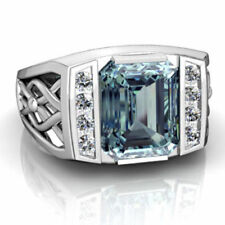 22K White Gold Natural Aquamarine & Diamond Gemstone Men's Wedding Ring