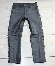 Men's Vintage Zip Fly Lace High Waist Black 100% Leather Jeans Trousers W32 L27