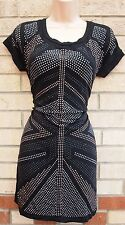 WAREHOUSE BLACK GOLD SILVER STUDDED BEADED UNION JACK FRONT TUNIC TUBE DRESS 8 S