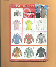 BUTTERICK 5153 pattern Nine 9 Blouses uncut unused factory folded Sz 6 8 10