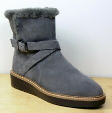 M&S Real SUEDE Fur Trimmed, Flatform ANKLE BOOTS ~ Size 6 ~ GREY (rrp £75)