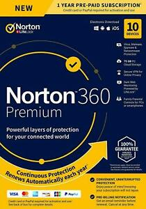 NORTON 360 PREMIUM SECURITY 2021 - 10 PC DEVICES -  WITH SECURE VPN - Download