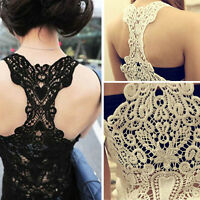 Sexy Women Lace Flower Tank Tops Cami Sleeveless Casual Cotton T-Shirt Vest
