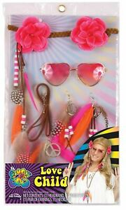 1960s Hippie Costume Accessory Glasses Necklace Feathers Earrings Kit Halloween